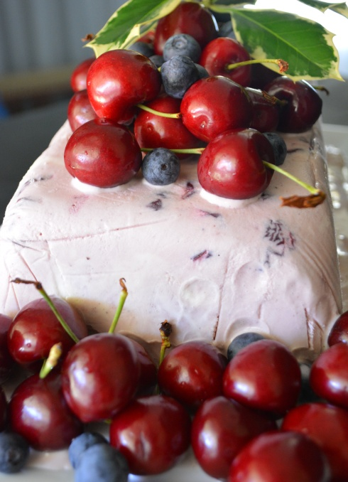 Gluten-free spiced cherry icecream cake